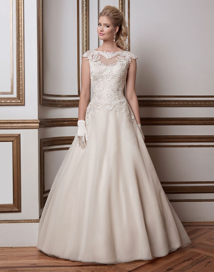 Justin Alexander wedding dresses style 8789 Soutache lace and tulle ball gown complemented with a sabrina neckline.
