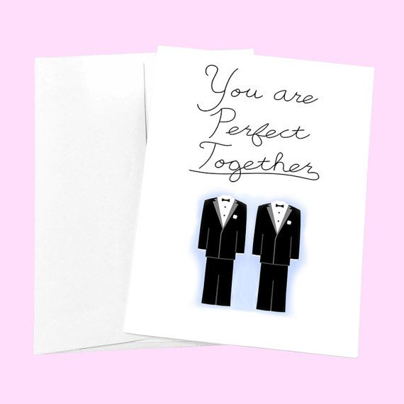 Funny Gay Wedding Card  You are Perfect Together  by PithyDiction