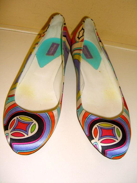 Vintage Pucci Shoes Ballet Satin Multi Color Flats by OwlVintage, $198.00 Glorious!