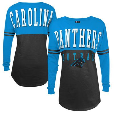 Women's Carolina Panthers 5th & Ocean by New Era Black Baby Jersey Spirit Top Long Sleeve T-Shirt