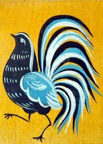 Folk Gorodets painting from Russia. A little birdie. #Russian #folk #art #painting