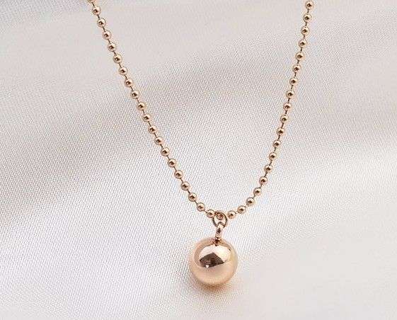 2014 New !Good quality! roll ball pendant design pendant circles chain 14k rose gold plated jewerly New brand necklace N24 US $10.99