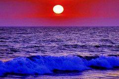 """арт.19041 """"Алый закат над океаном"""" [30*40] Алмазная мозаика"""