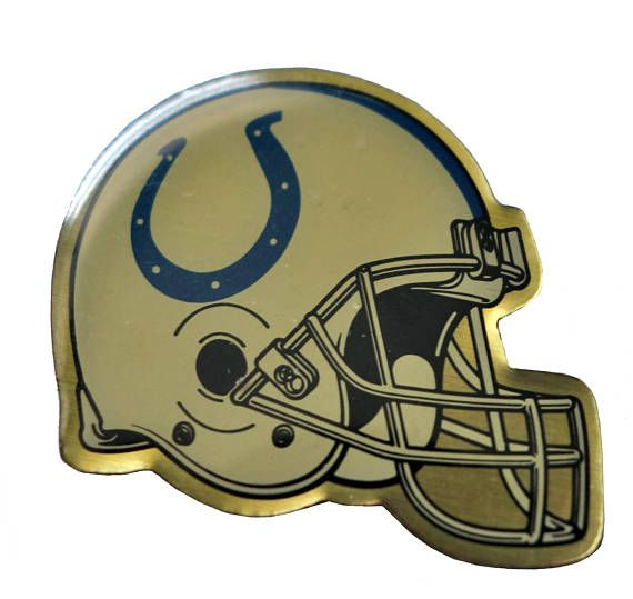 """INDIANAPOLIS COLTS Helmet Logo vintage enamel pin badge nfl Football INDIANA by VintageTrafficUSA  14.00 USD  A vintage Colts pin! Decent condition with light scuffs. Measures: approx 1"""" 20 years old hard to find vintage high-quality cloisonne lapel/pin. Beautiful die struck metal pin with colored glass enamel filling. These rare pins are proven to win you friends and influence people! Add inspiration to your handbag tie jacket backpack hat or wall…"""