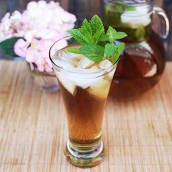Homemade Lemon Balm + Mint Iced Tea