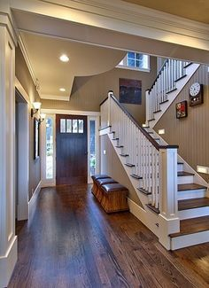Oak floors with dark walnut stain against simple white trim, love the wall color (painted bead board)--The paint color is Sherwin Williams Sand Beach Flat