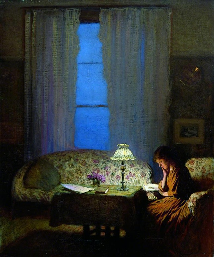 Reading by Lamplight (Twilight: Interior) George Clausen