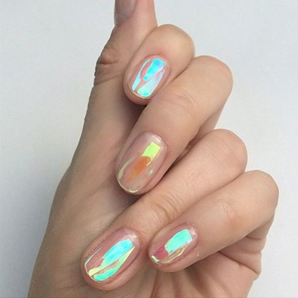 Iridescent mylar strips / confetti, with glossy clear top coat.