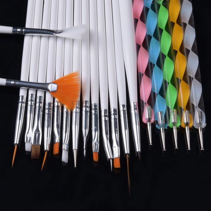 20 개 세트 네일 아트 세트 디자인 도팅 그리기 폴란드어 브러쉬 펜 도구 매니큐어 아트 브러쉬