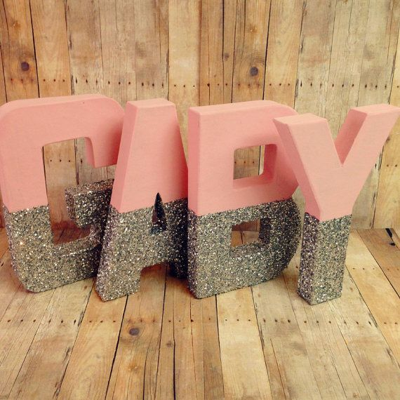 Glitter Letters Pink and silver self standing you by Ajobebe
