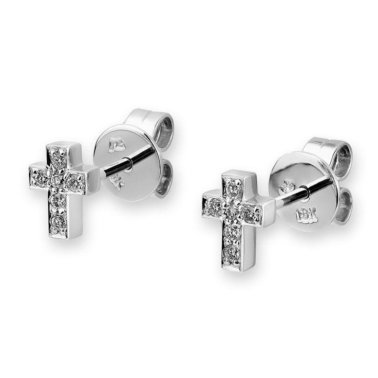 18k Diamond Cross Earrings