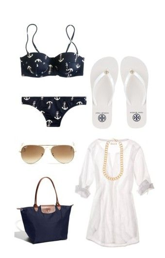 """Here Comes The Sun ☀️"" by ericalswenson ❤ liked on Polyvore featuring J.Crew, Tory Burch, American Eagle Outfitters, Longchamp, Forever New, Ray-Ban and jcrew americaneagle anchor navy white gold bikini twopiece coverup toryburch longchamp raybans aviat"