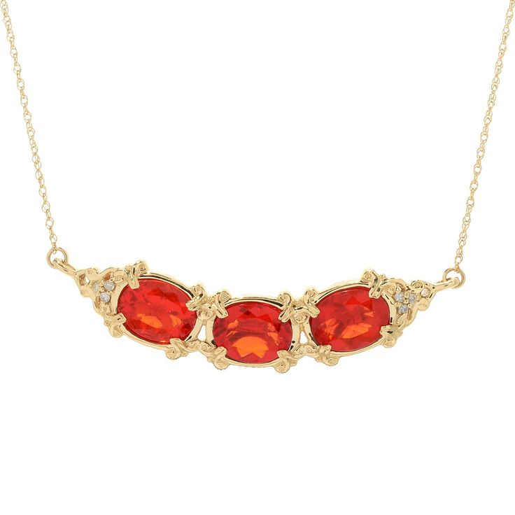 "153-997 - Gems en Vogue 14K Gold 18"" 8 x 6mm Fire Opal & Diamond Necklace"
