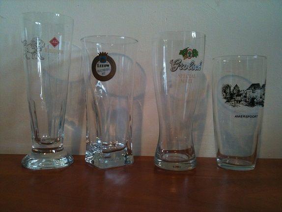 For Sale: Four original glasses, Leeuw (2x), Grolsch and Amersfoort Koppelpoort.