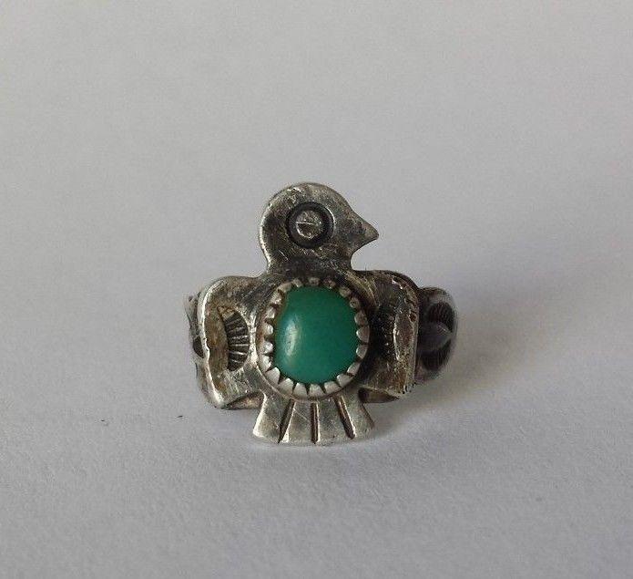 Vintage Estate Find Harvey Era Bell Trading Sterling Turquoise Eagle Ring sz 1 #BellTradingPost