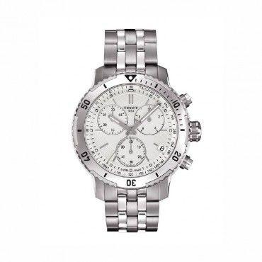 T0674171103101 Ανδρικό ελβετικό quartz ρολόι TISSOT PRS 200 με χρονογράφο, μπρασελέ & άσπρο καντράν | Ανδρικά ρολόγια TISSOT ΤΣΑΛΔΑΡΗΣ στο Χαλάνδρι