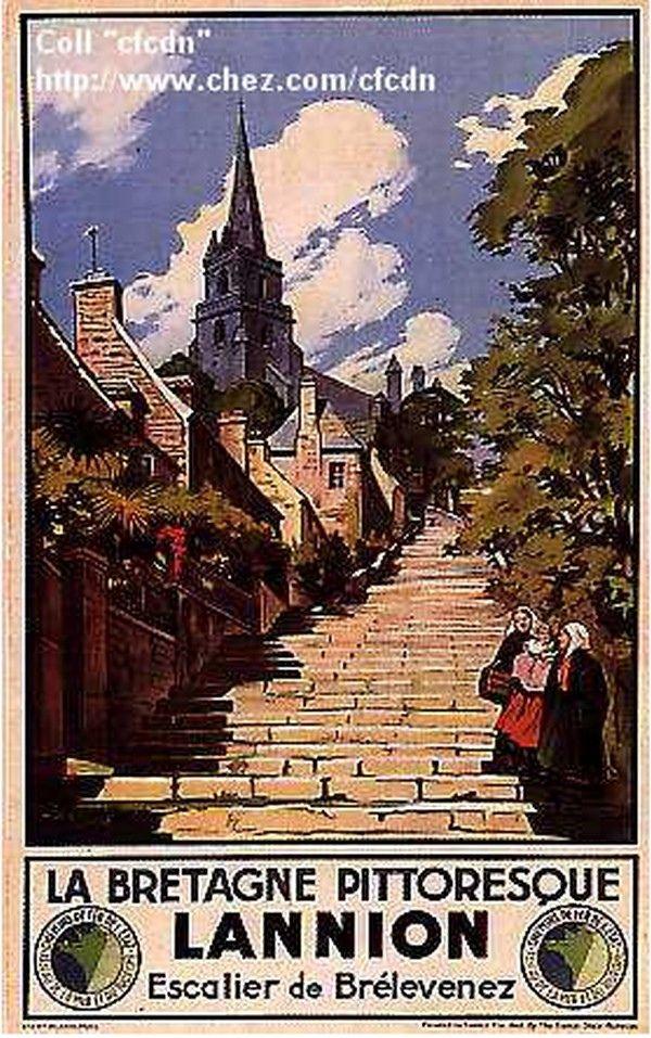 Vintage Travel Poster - Lannion - Escalier de Brélevenez - La Bretagne Pittoresque.