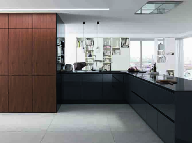 Amazing SieMatic New Veneers increased design options for open plan spaces pictured in natural walnut colour