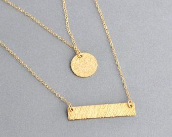 Lingot d'or rose collier collier en couches Initial par MalizBIJOUX