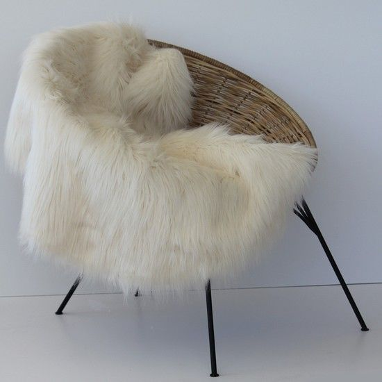 Round faux fur rug/throw $199 - Perch Home