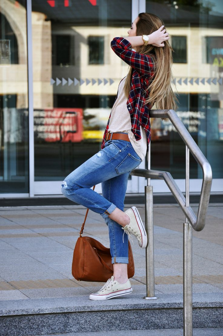 plaid shirt + white tee + brown leather belt and purse + jeans + converse