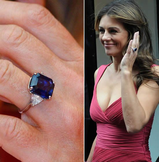 Elizabeth Hurley and her engagement ring