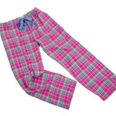 Brushed cotton pink and mint check PJ bottoms