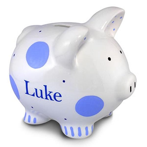 Hand Painted Blue Piggy Bank $30.00