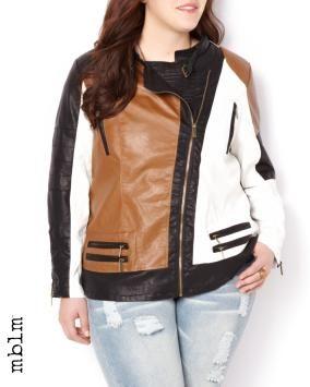mblm Vegan Leather Colour Block Jacket