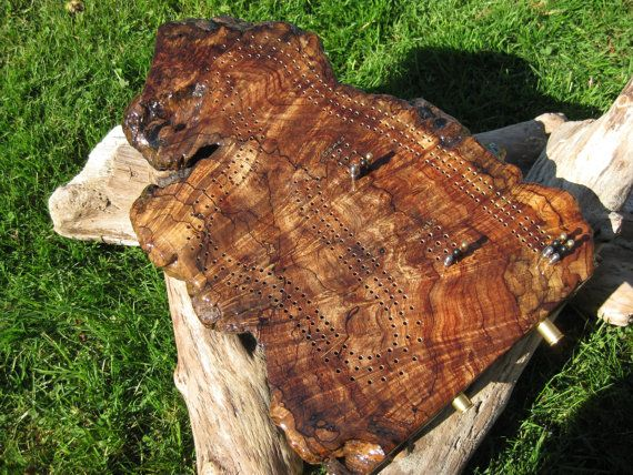 Unique 3 Player Driftwood Burl Cribbage Board