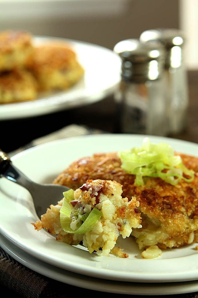 Double Smashed Potato Cakes with Leeks  Garlic  Bacon and Thyme from Creative Culinary com