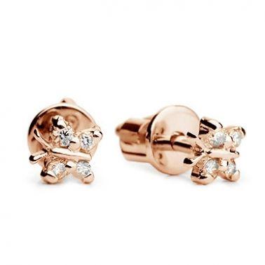Золотые серьги-гвоздики Бабочки с бриллиантами
