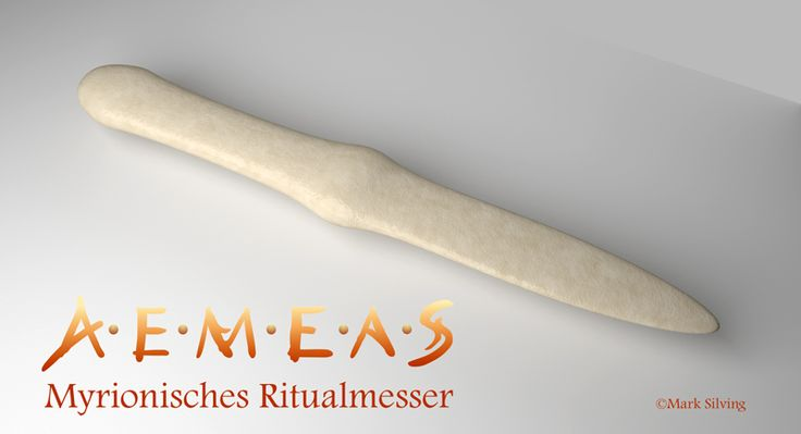 Ein Ritualmesser, das im Reich Myrion nach besonders harten Aufnahmeprüfungen verliehen wird. Das schlichte, stumpfe Knochenmesser kann weitaus mehr, als der Anschein vermuten lässt ...
