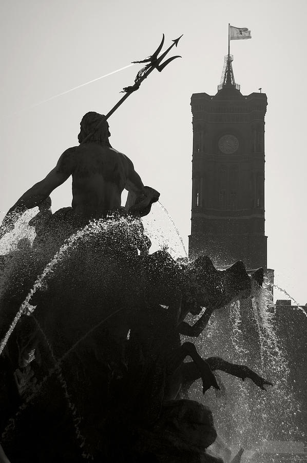 Neptune Fountain and Rotes Rathaus tower. Photograph by RicardMN Photography: B W Photos, Rathaus Tower