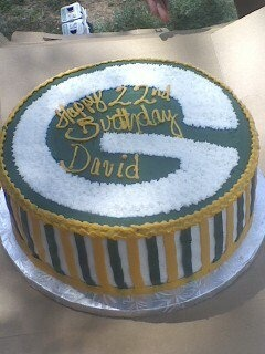Green Bay Packers birthday Cake! it was Italian Creme....delicious