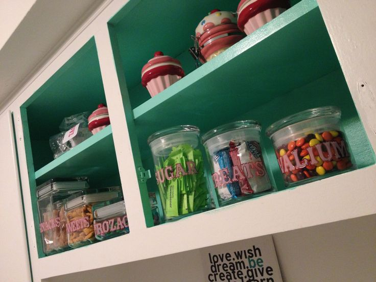 Candy treat jars for my open faced cabinets in my for Cupcake themed kitchen ideas