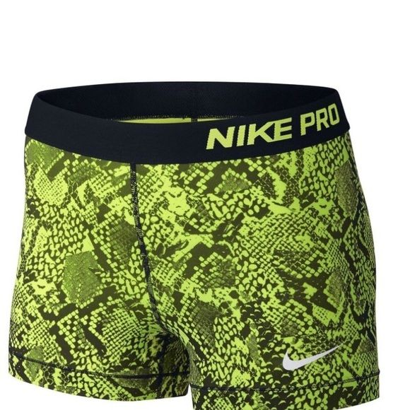 "Nike Pro 3"" Vixen Women's Training Shorts So cute and comfortable to work out in! These shorts are an amazing neon green and black color! Nike Shorts"