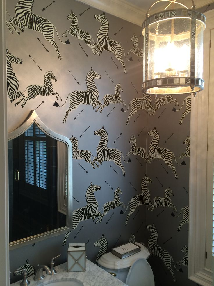 Silver Jumping Zebra Scalamandre Wallpaper Interior Design