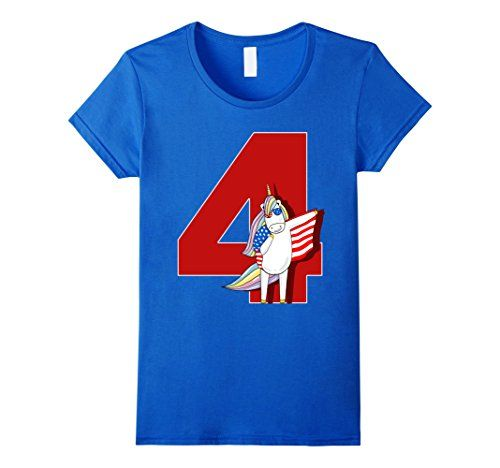Womens Happy 4th Of July Unicorn Ma Memorial Day Funny T-...
