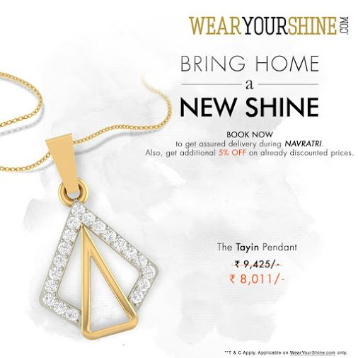 """""""Navratri Special: Avail 10% off on the beautiful """""""" #Tayin #Pendant"""""""" with WearYourShine, assured delivery during #Navratri. Book now : http://goo.gl/l3Mirb  #WearYourShine #Love #PCJeweller #Like #Follow #Trends #Fashion #India #Jewellery #Jewellers #Women #Diamonds #Gemstones #Gold #Pendants #Necklaces"""""""