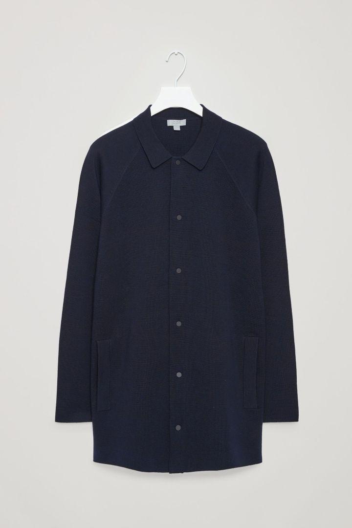 COS image 4 of Long cardigan jacket in Navy