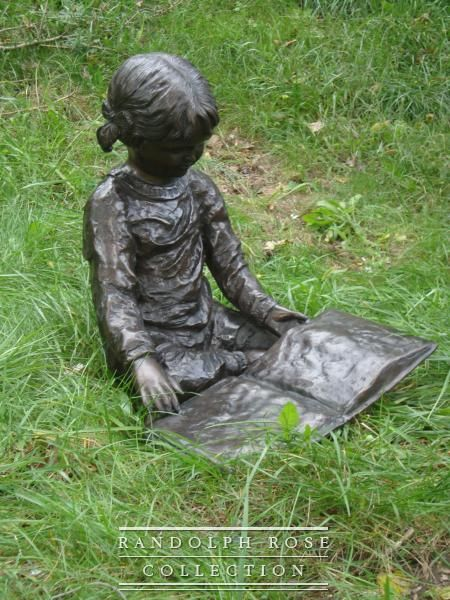Nursery Rhymes -- Delightful Bronze Statue of a Young Girl Reading a Book