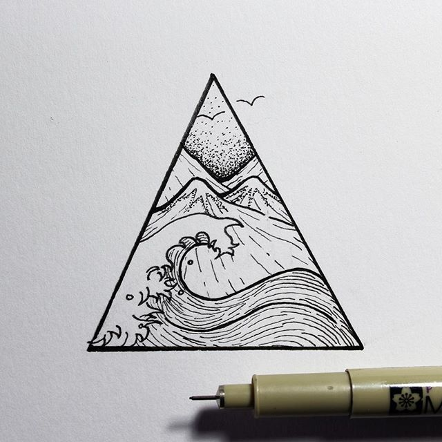 Greyscale water triangle tattoo
