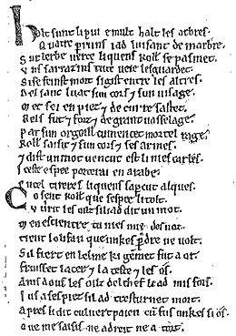 La Chanson de Roland — Feuille du Manuscrit d'Oxford, fac-simile publié par Léon Gautier