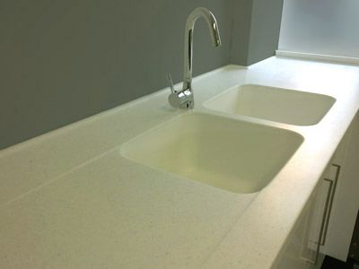 Corian Acrylic Benchtop Countertop Moulded Sink Draining