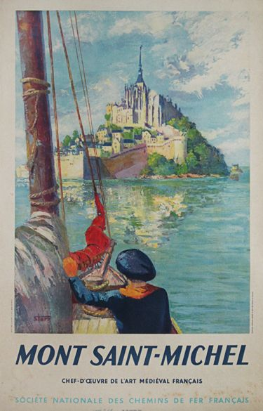 Mont Saint Michel original vintage travel poster from 1947 by Starr.  Shop original vintage posters online: www.antiqueposters.com