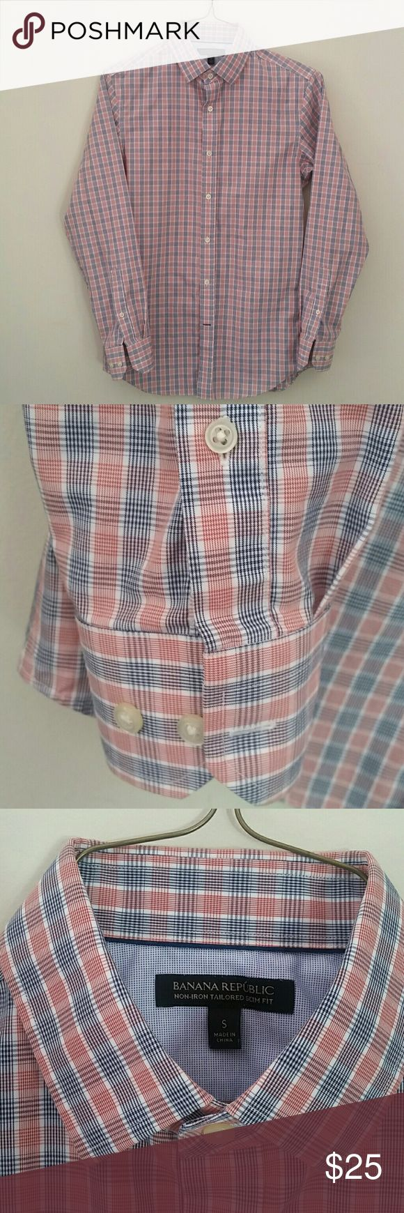 Banana Republic Men's Shirt Tailored Slim Fit. Non-iron. 100% cotton. Red and Navy micro plaid. Like new. Banana Republic Shirts Dress Shirts