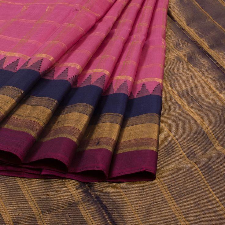 Pink Handwoven Gadwal Silk Sarees from Avishya  www.yarnstyles.com