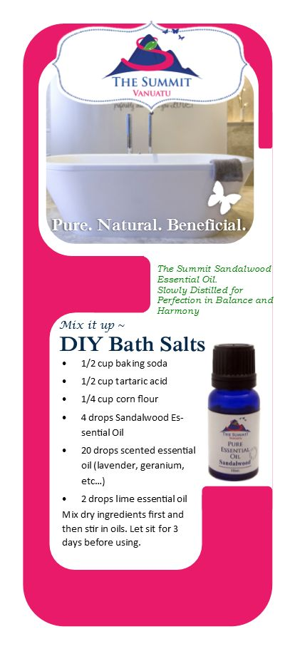 A great recipe for Sandalwood Essential Oil based Bath Salts. Add some spice to your bath!