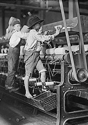 19th century American children at work in the factory